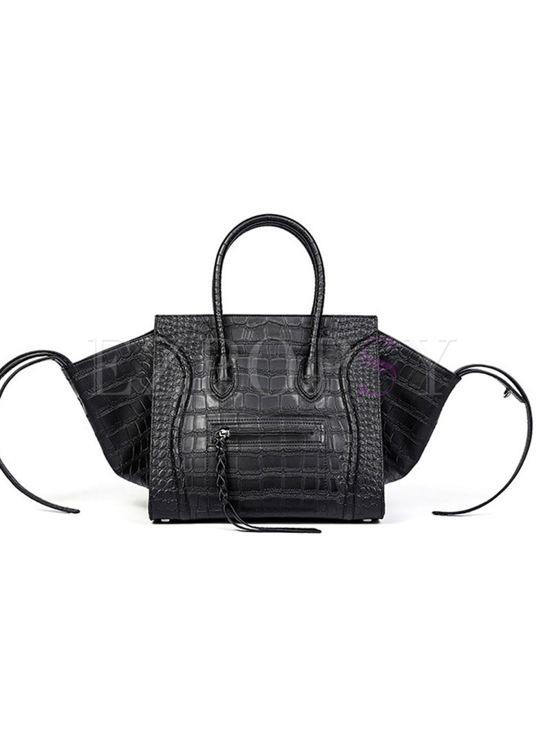 Popular Black Crocodile Top Handel Bag