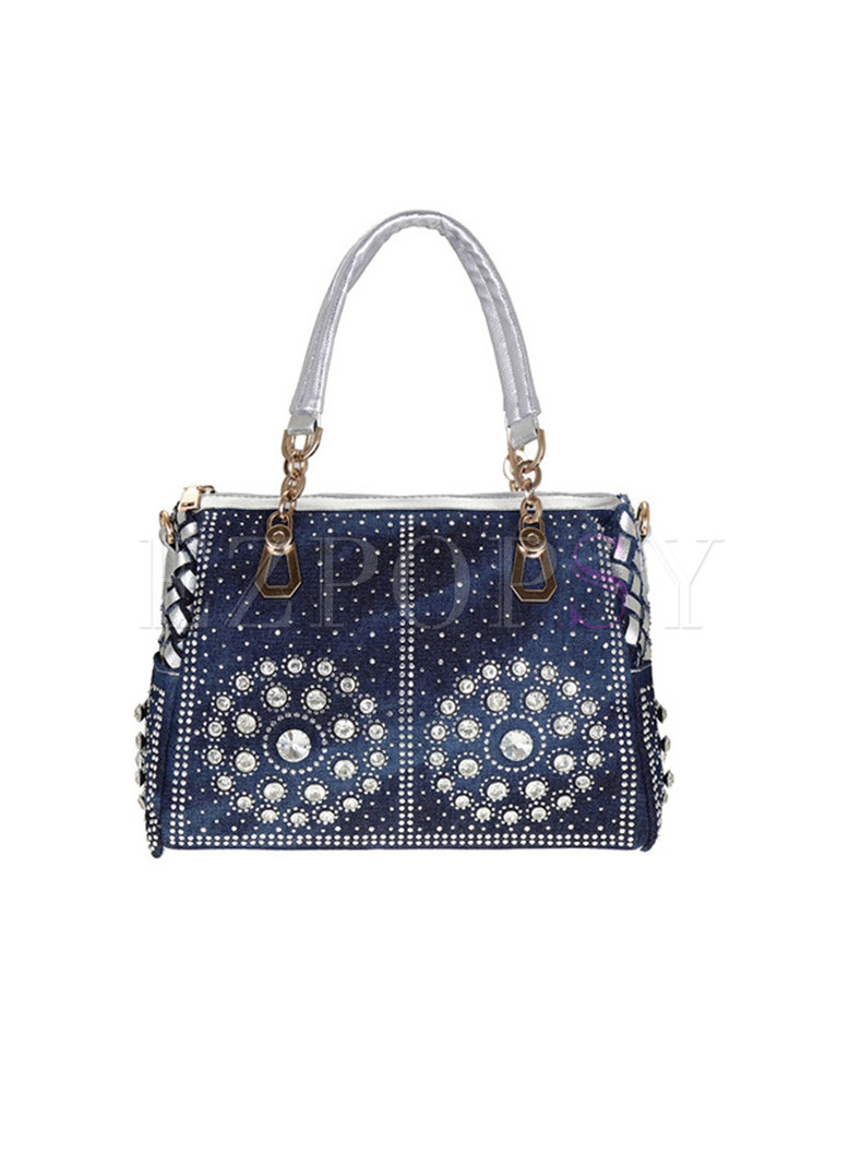 Stylish Circle Diamond Zippered Denim Tote