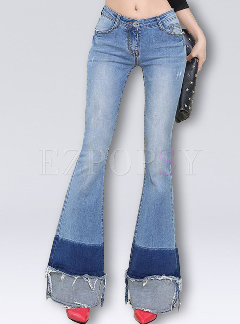 Chic Color-matched Patched Edging Flare Jeans