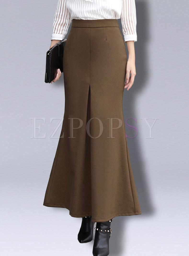 Pure Color Woollen Mermaid Bodycon Skirt