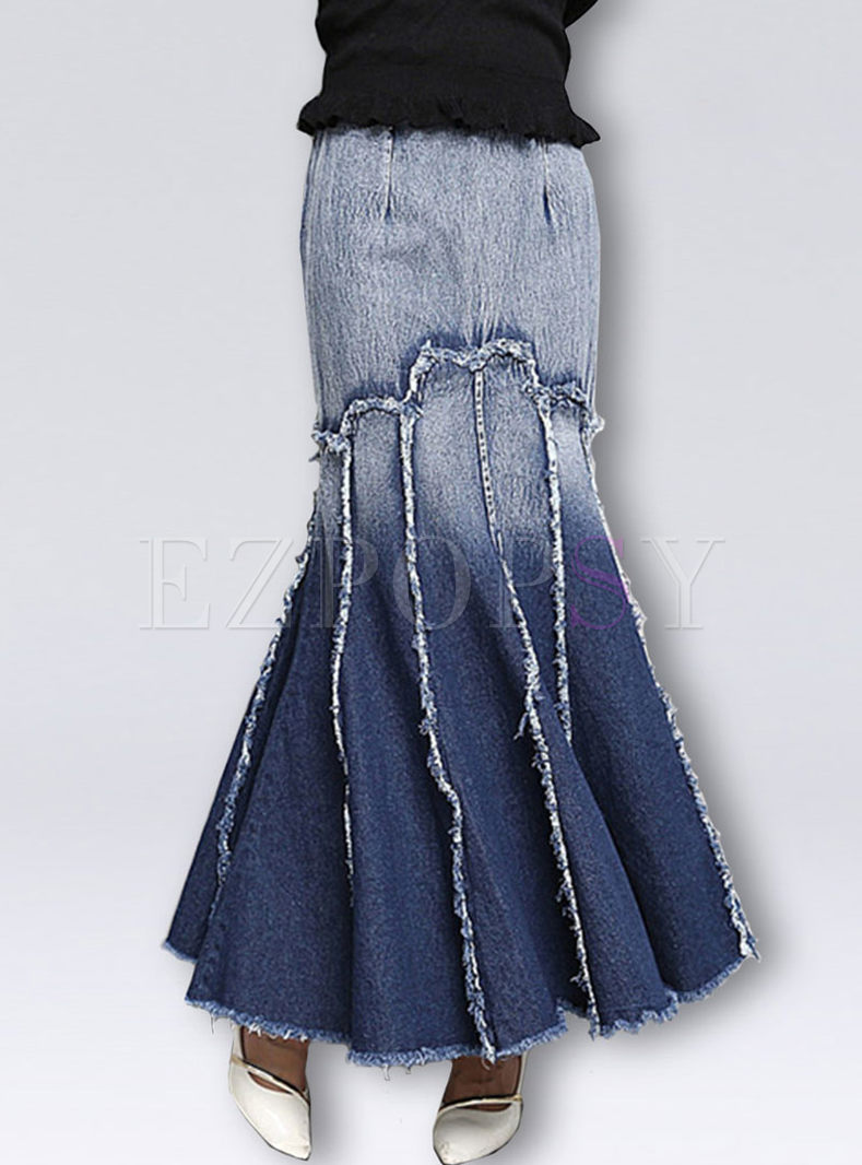 Gradient Color Splicing Tassel Big Hem Mermaid Skirt