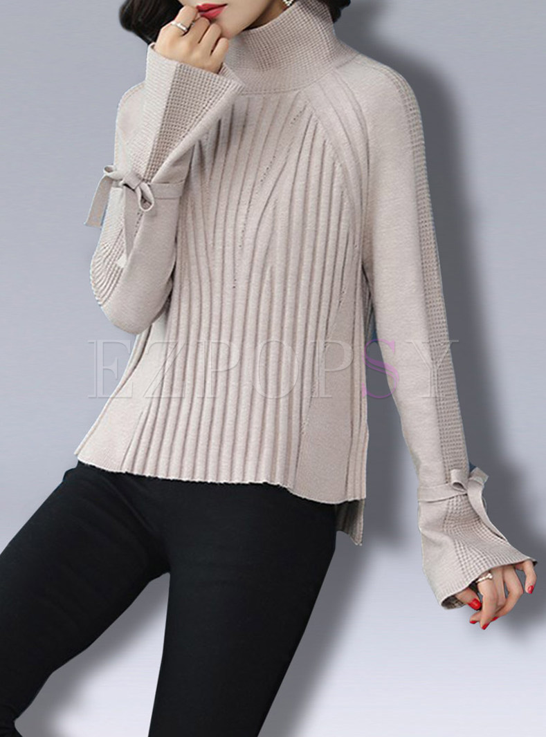 Turtle Neck Flare Sleeve Knitted Sweater