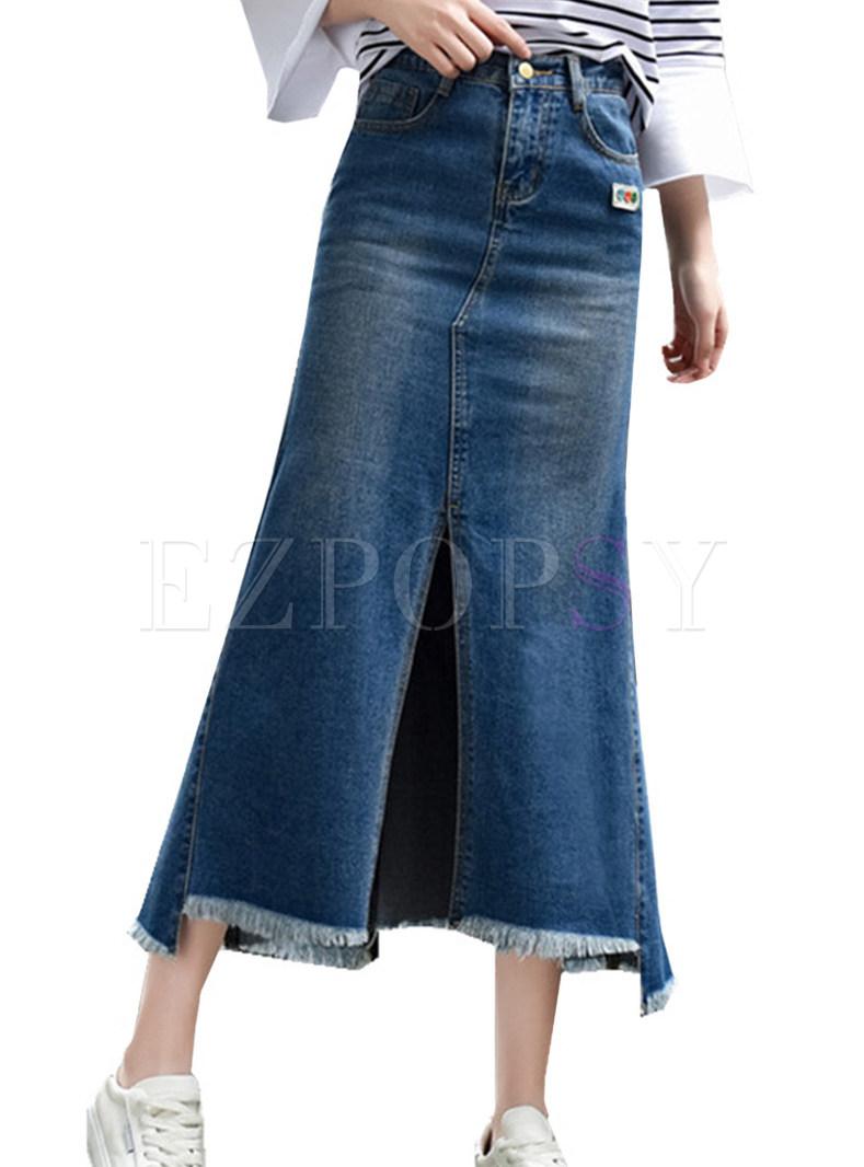 Sexy Blue Denim Oversized Sheath Mermaid Skirt With Split