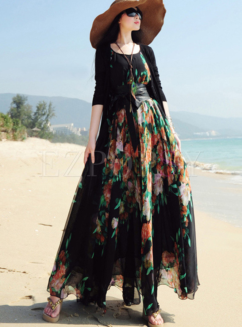 Bohemian O-neck Sleeveless Maxi Dress With Belt