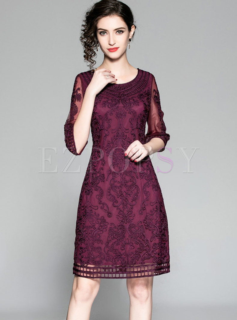 Elegant Deep Purple Gathered Waist Lace Patchwork Bodycon Dress