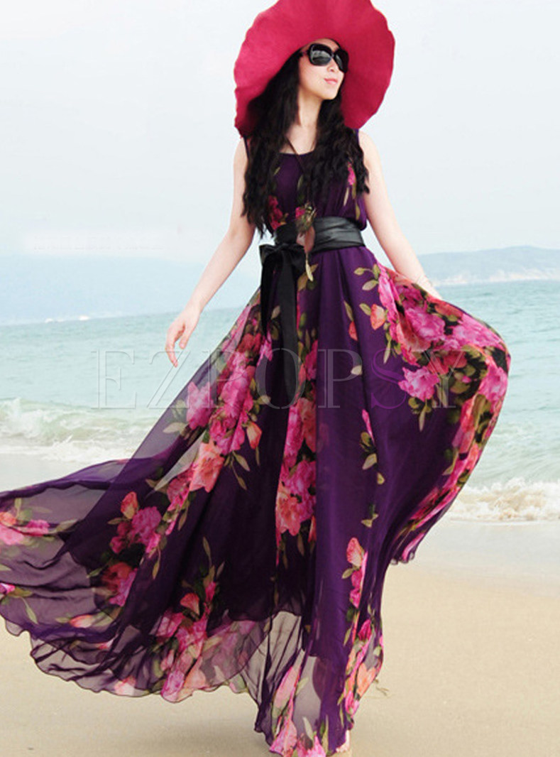 Fashion Print Chiffon Maxi Dress With Belt