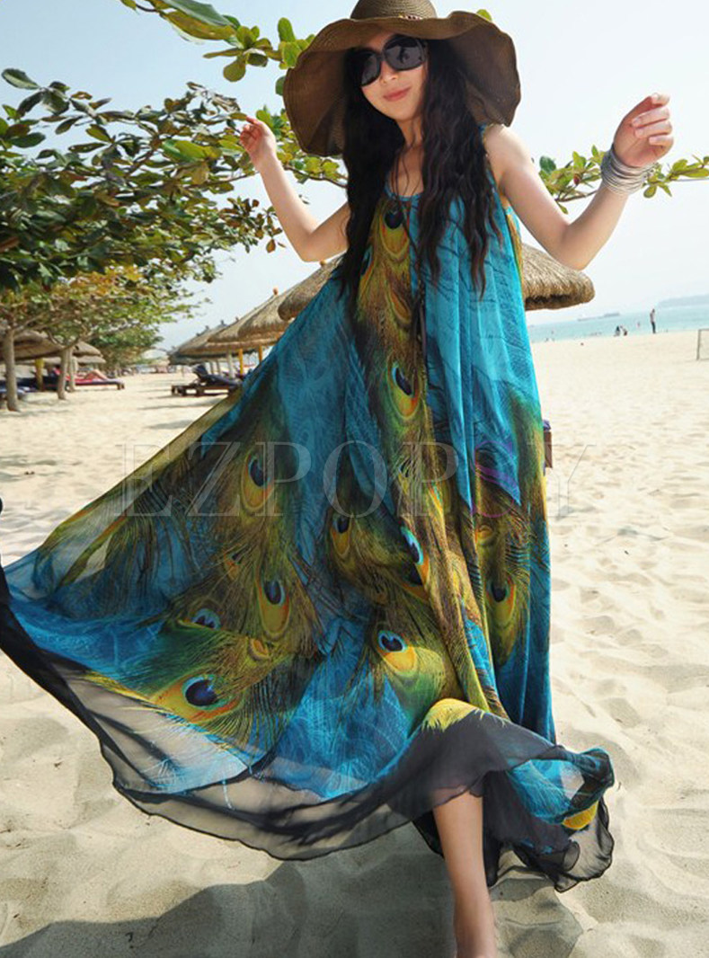 Bohemian O-neck Short Sleeve Waist Maxi Dress