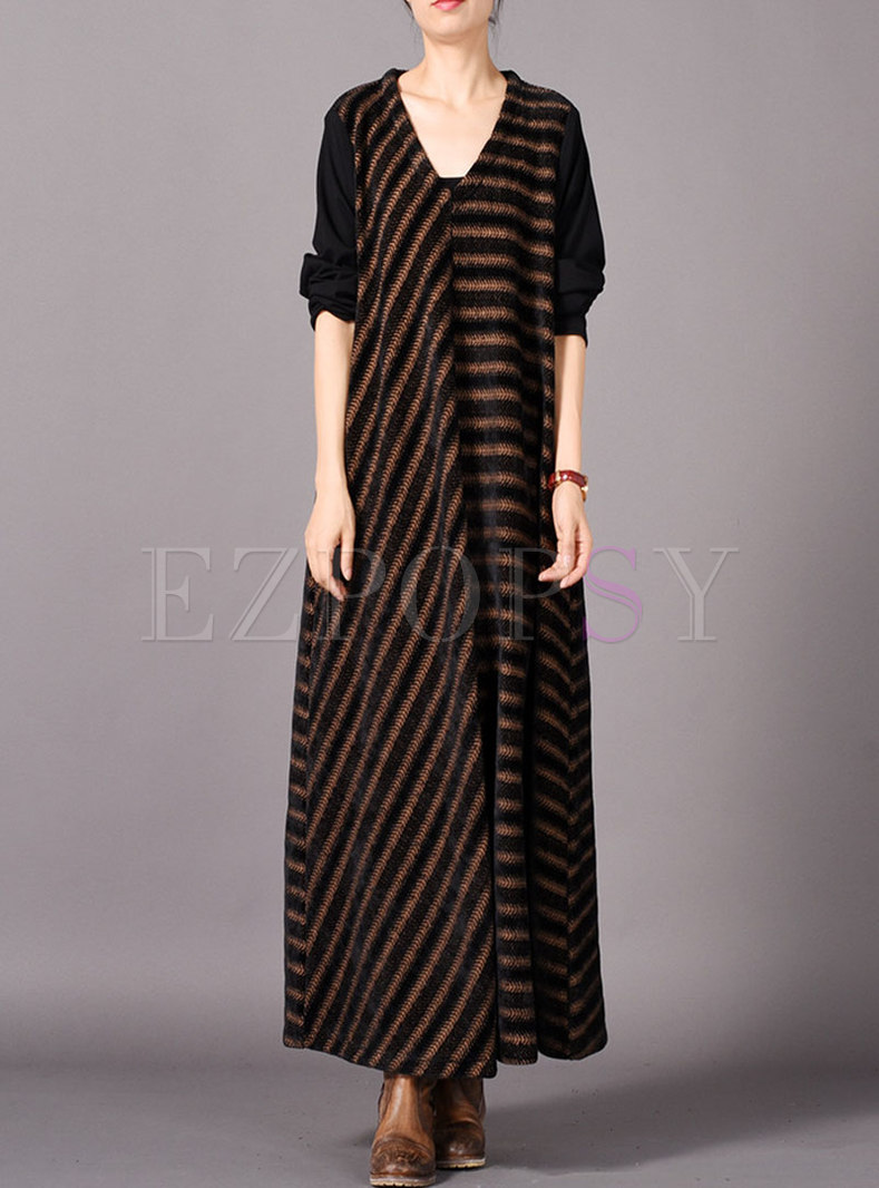 Brief Striped Splicing V-neck Loose Dress