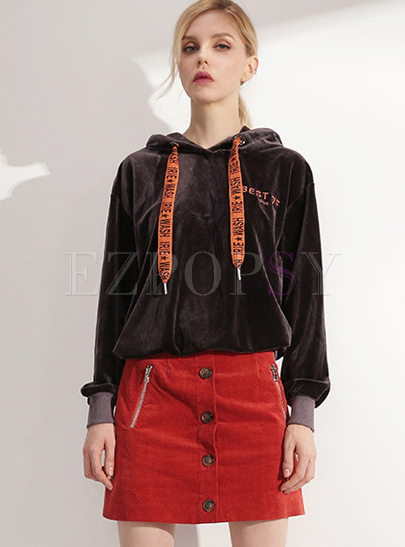Letter Drawstring Print Hooded Velvet Sweatshirt