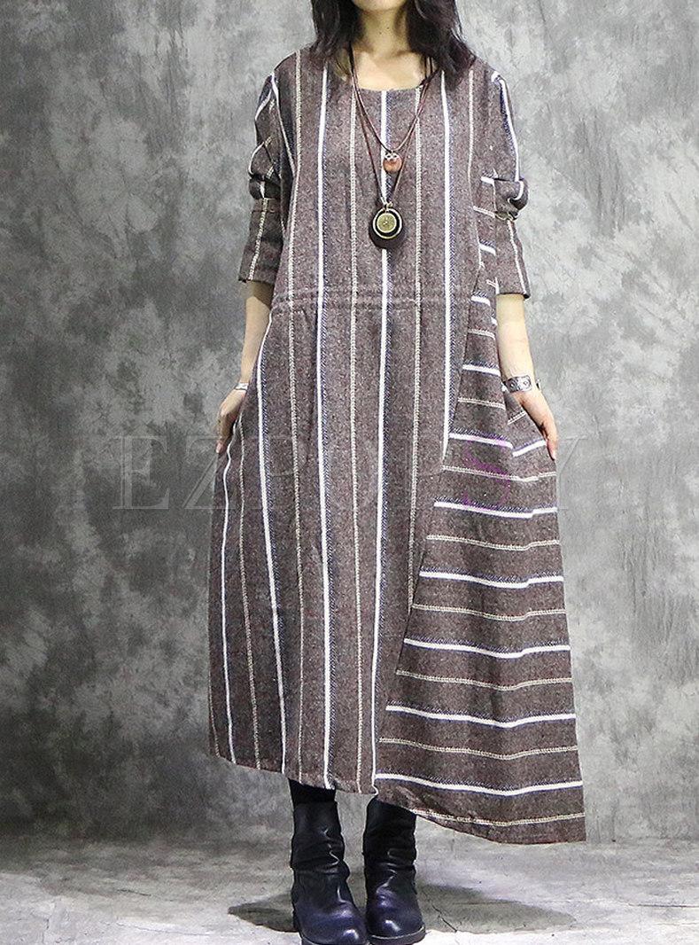 Vintage Striped Splicing O-neck Asymmetric Hem Maxi Dress
