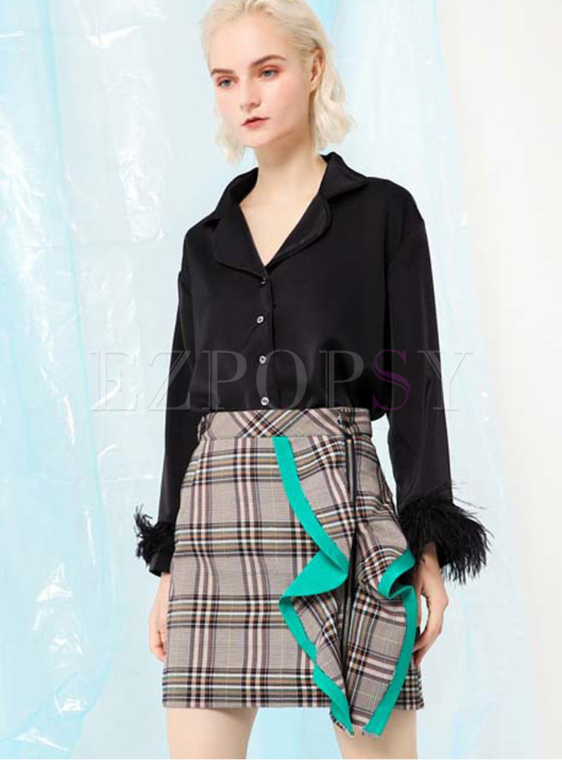 Black Turn Down Collar Long Sleeve Feather Coat