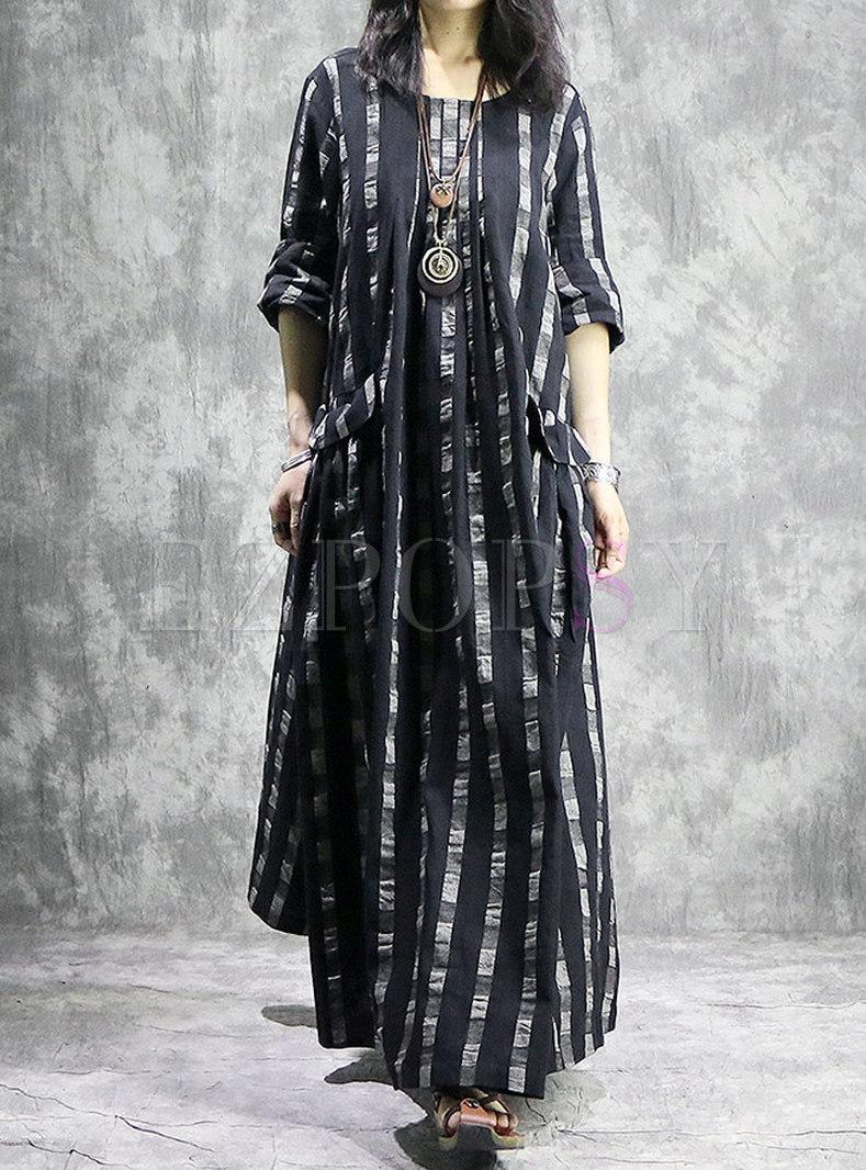 Striped O-neck Pocket Loose Maxi Dress