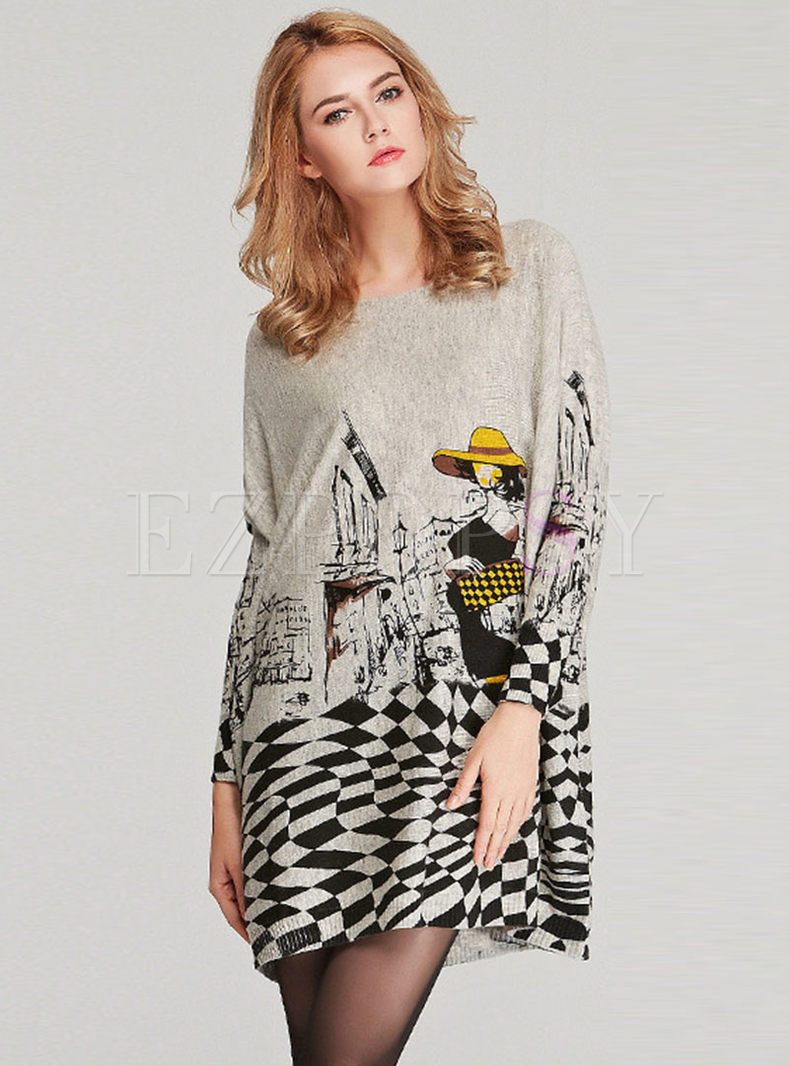 Plus Size Print O-neck Loose Pullover Sweater