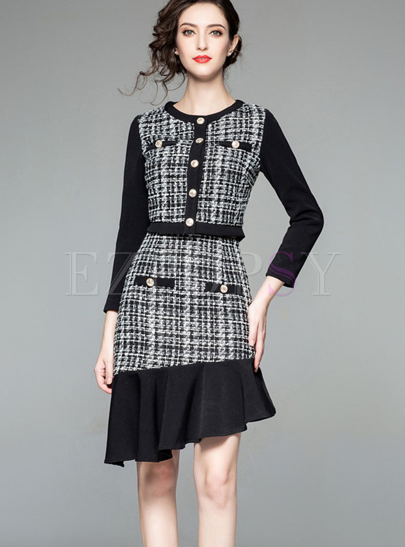 Stylish Crew-neck Buttoned Top & Asymmetric Hem Skirt