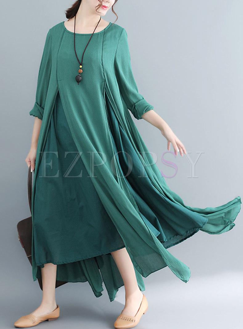 Pure Color O-neck Asymmetric Hem Maxi Dress