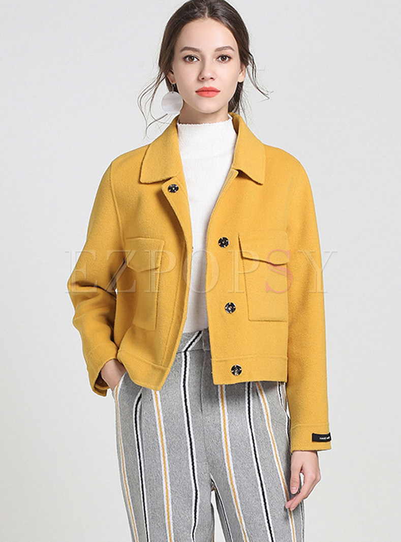 Yellow Turn Down Collar Single-breasted Woolen Short Coat