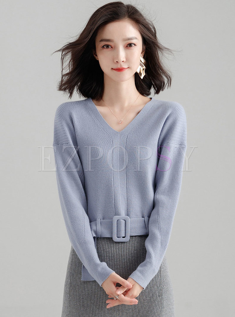 Chic V-neck Belted Short Knitted Sweater