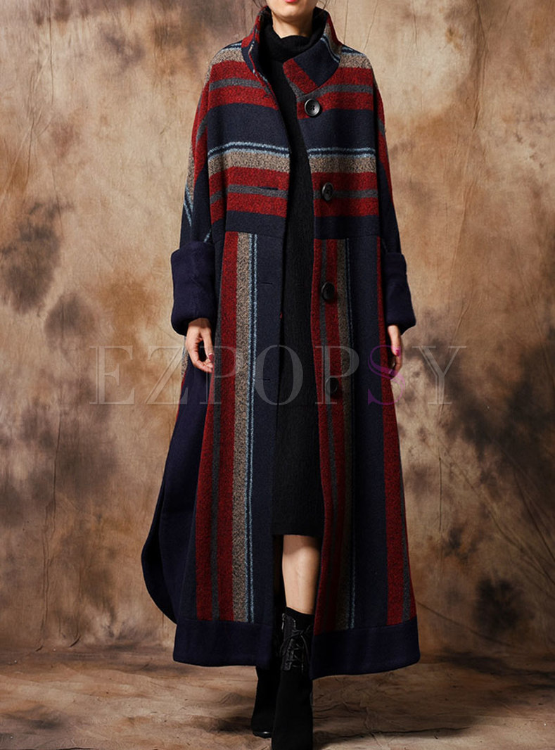Elegant Striped Stand Collar Single-breasted Asymmetric Coat