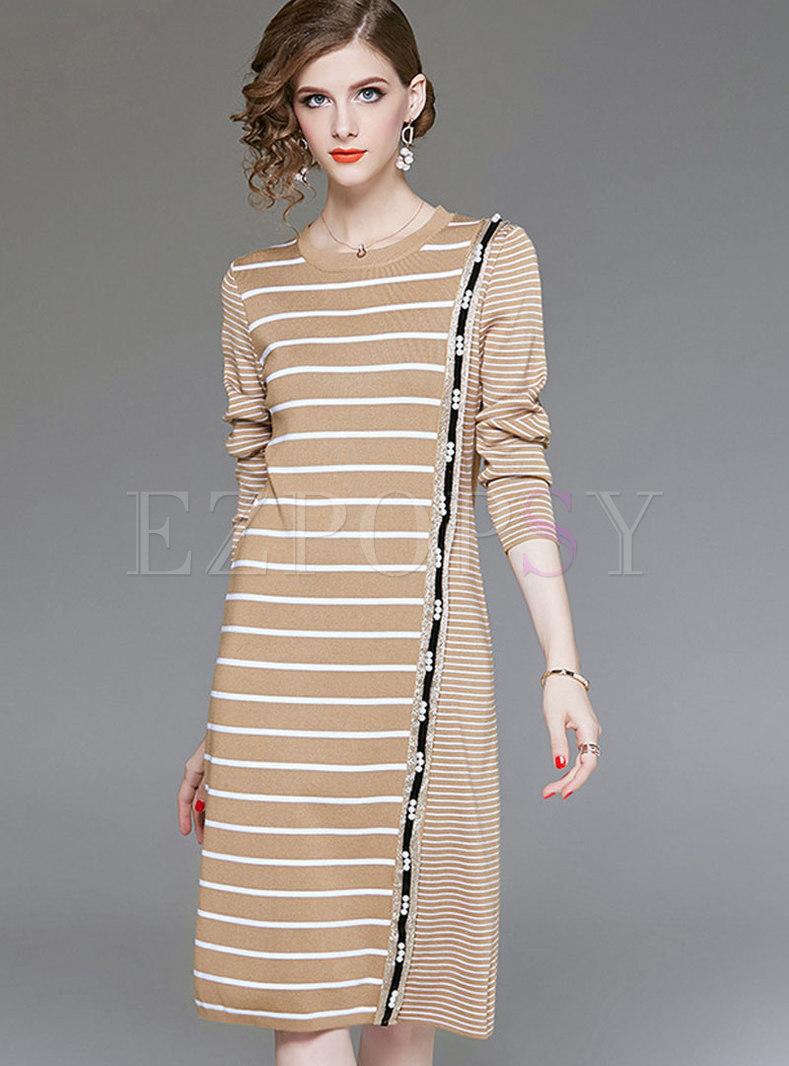 Fashion Striped High Waist Bottoming Midi Dress