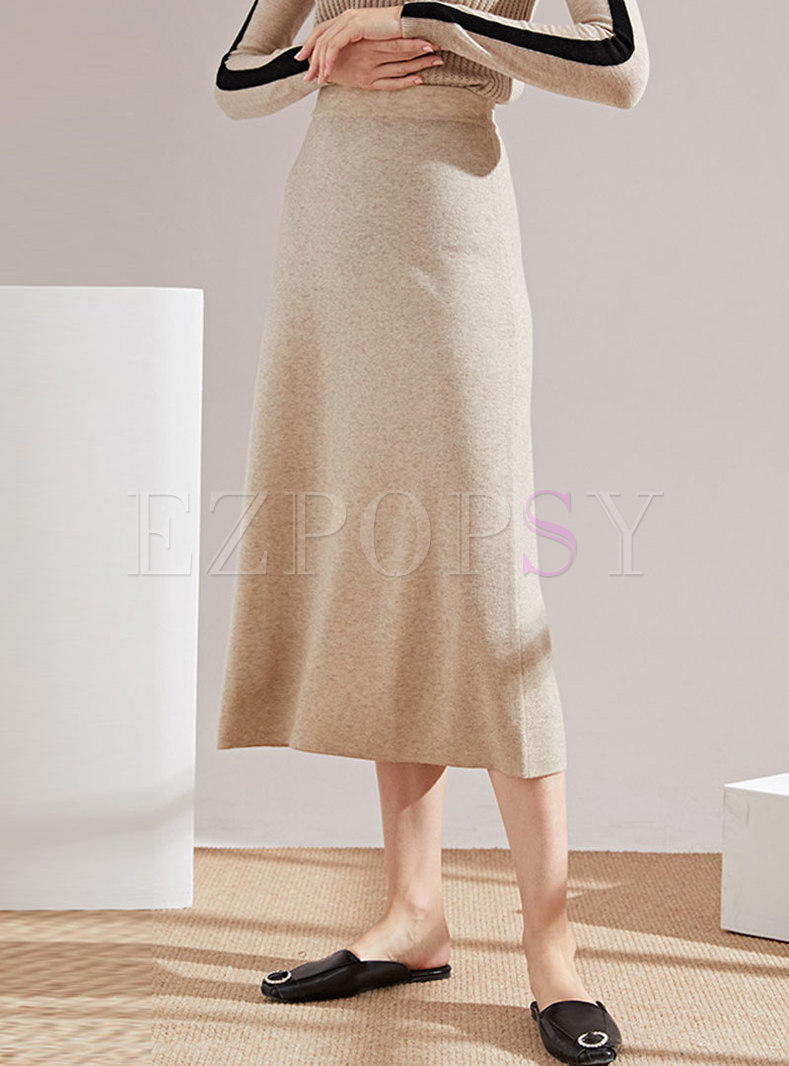 Brief Elastic Waist Sheath Knitted Skirt