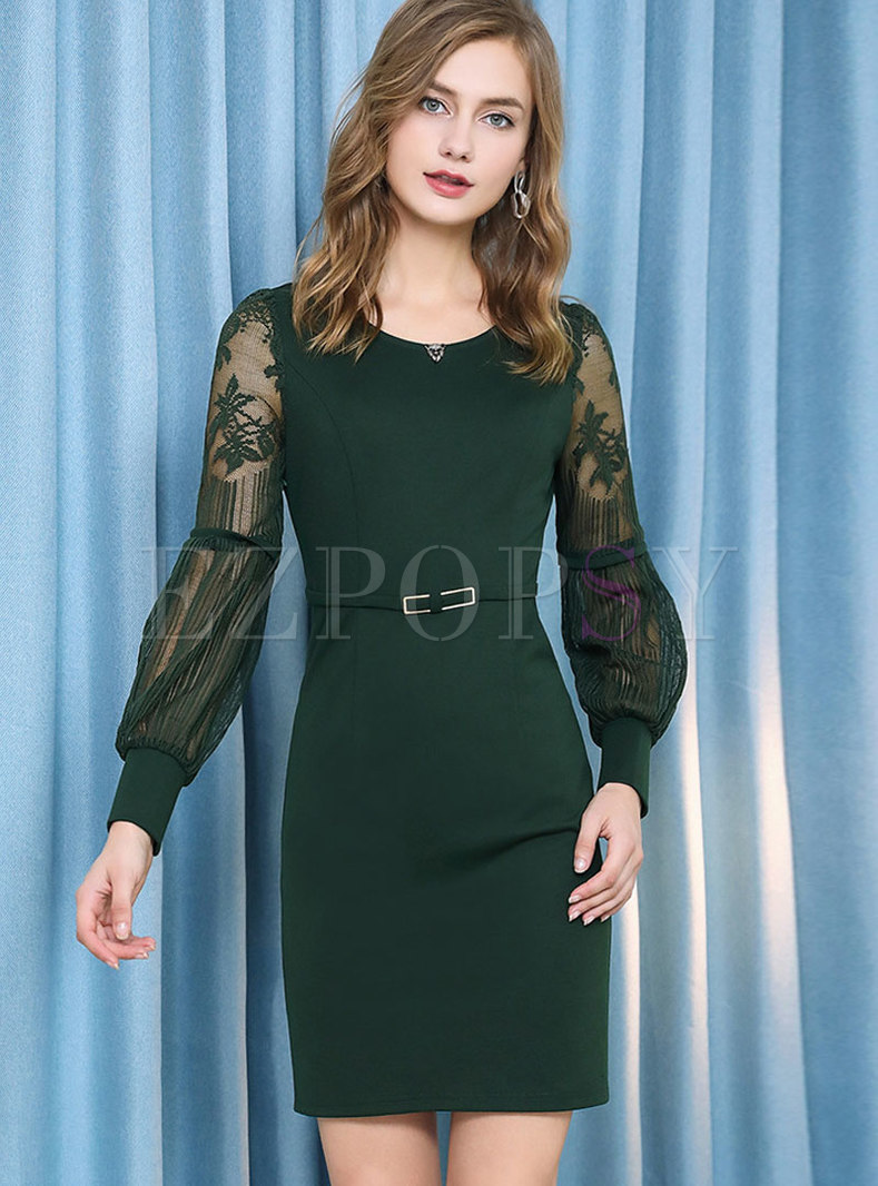 Trendy Green Lantern Sleeve Crew-neck Tie-waist Dress