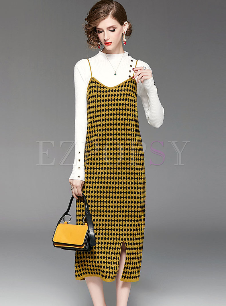 7ab9921d8089 Two-piece Outfits | Two-piece Outfits | White Stand Collar Knitted Sweater  & Grid Slit Slip Dress