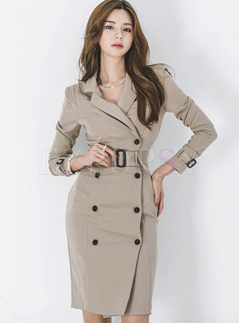 Trendy Notched Double-breasted Sheath Dress