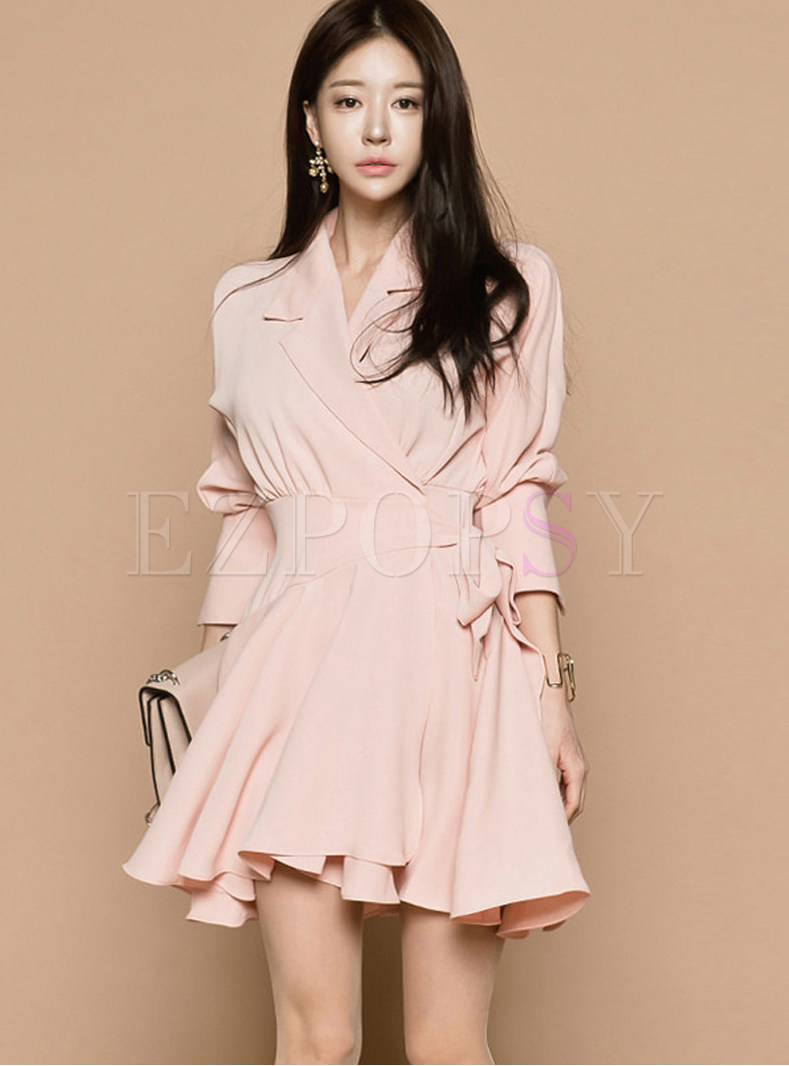 Pink Notched Asymmetric Mini A Line Dress
