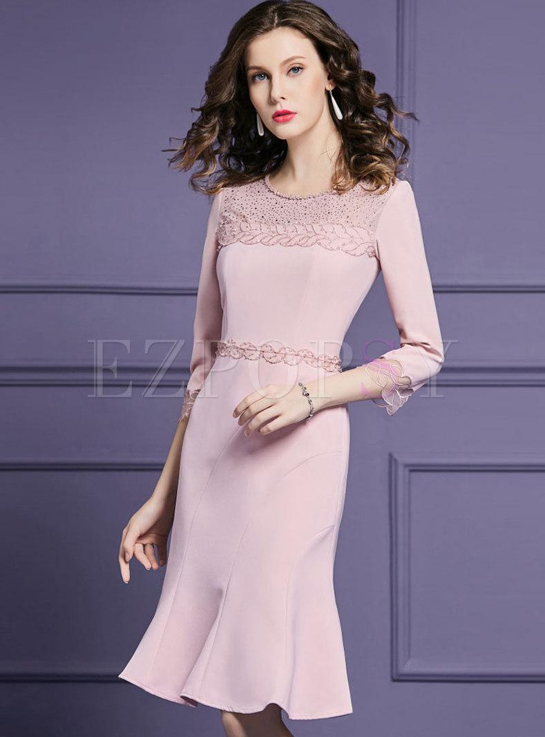 Elegant Splicing Drilling High Waist Mermaid Dress