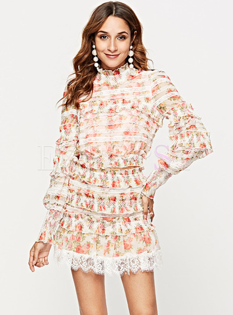 Chic Print Splicing Ruffled Collar Top & High Waist Layered Skirt