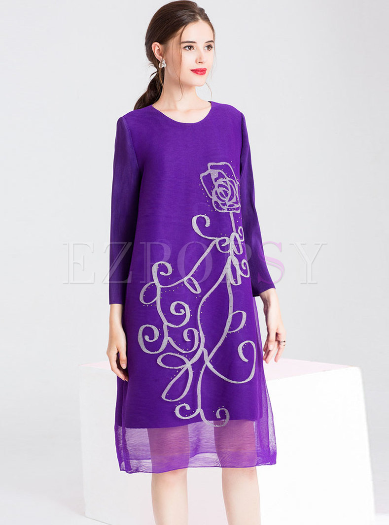 Mesh Splicing Print Drilling Shift Dress