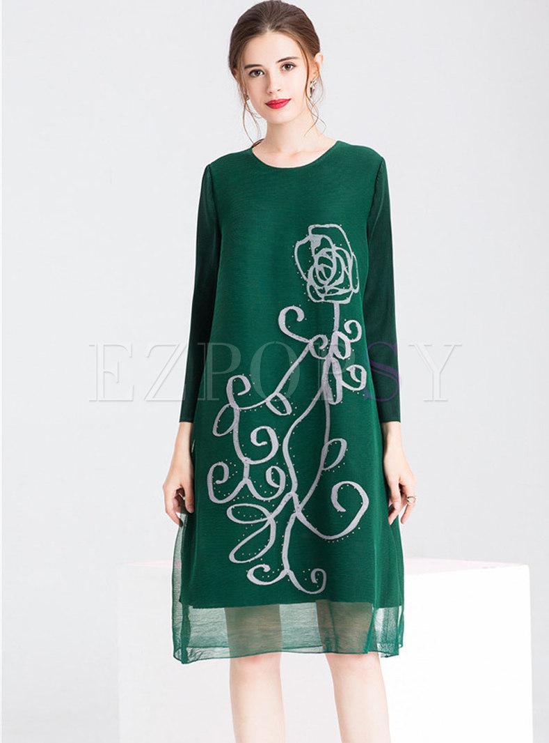 Fashion Mesh Splicing Print Drilling Shift Dress