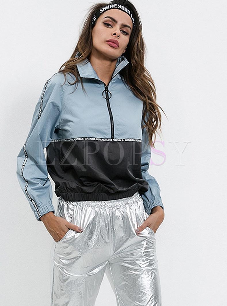 Casual Color-blocked Lapel Pullover Sweatshirt