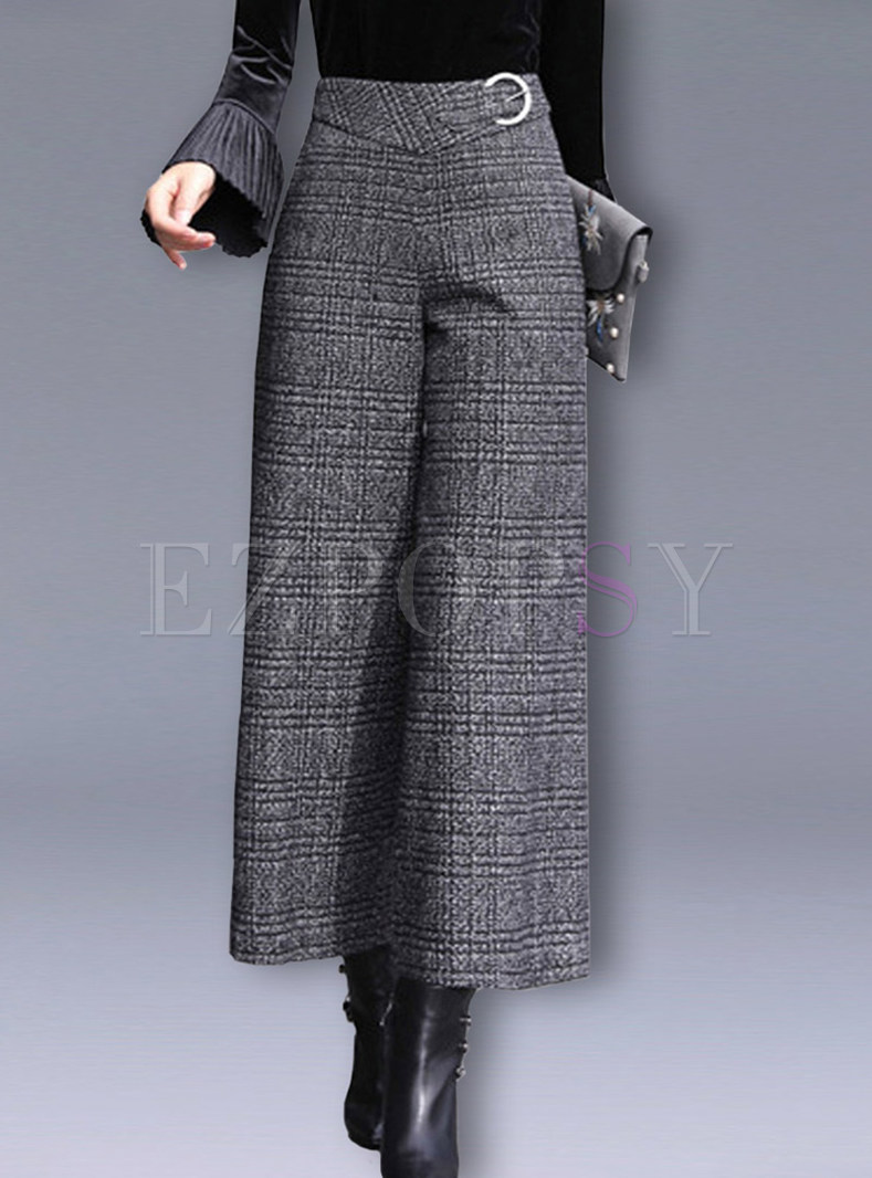 Fashion Plaid High Waisted Woollen Wide Leg Pants