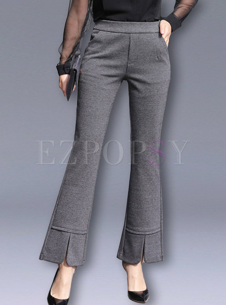 High Waist Slim Pocket Slit Flare Pants