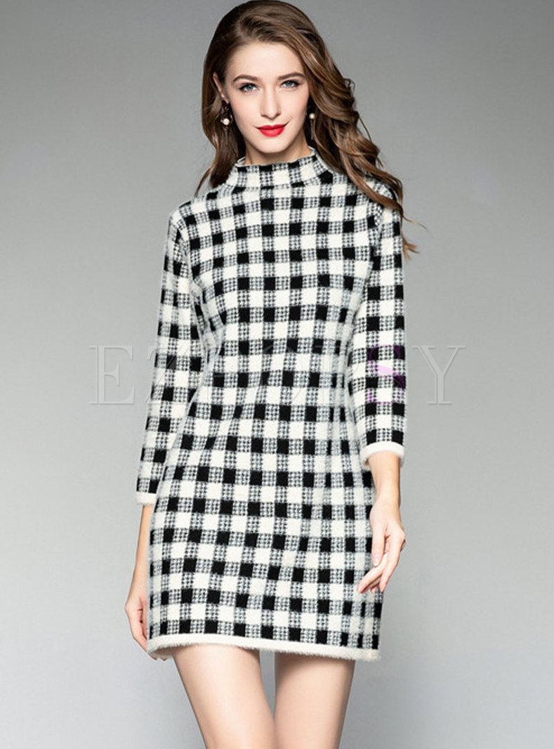 Stylish Casual Straight Grid Knitting Dress