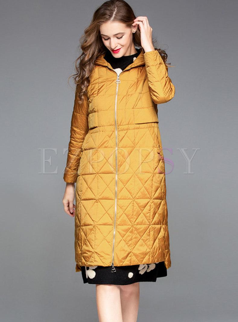 Autumn Plus Size Hooded Plaid Down Coat