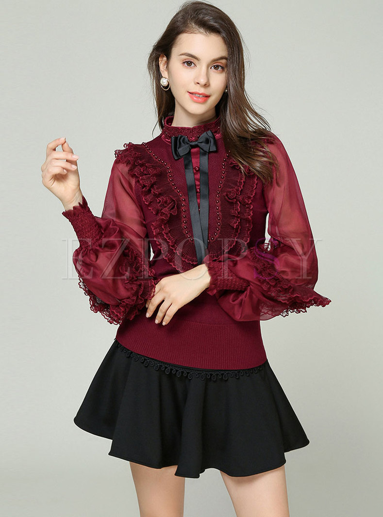 Mesh Splicing Lantern Sleeve Bowknot Beaded Knitted Sweater