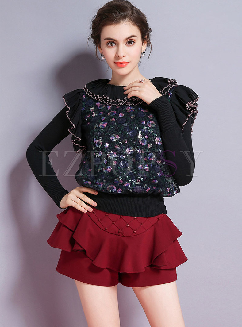 Black Falbala Knitted Sweater With Sequins