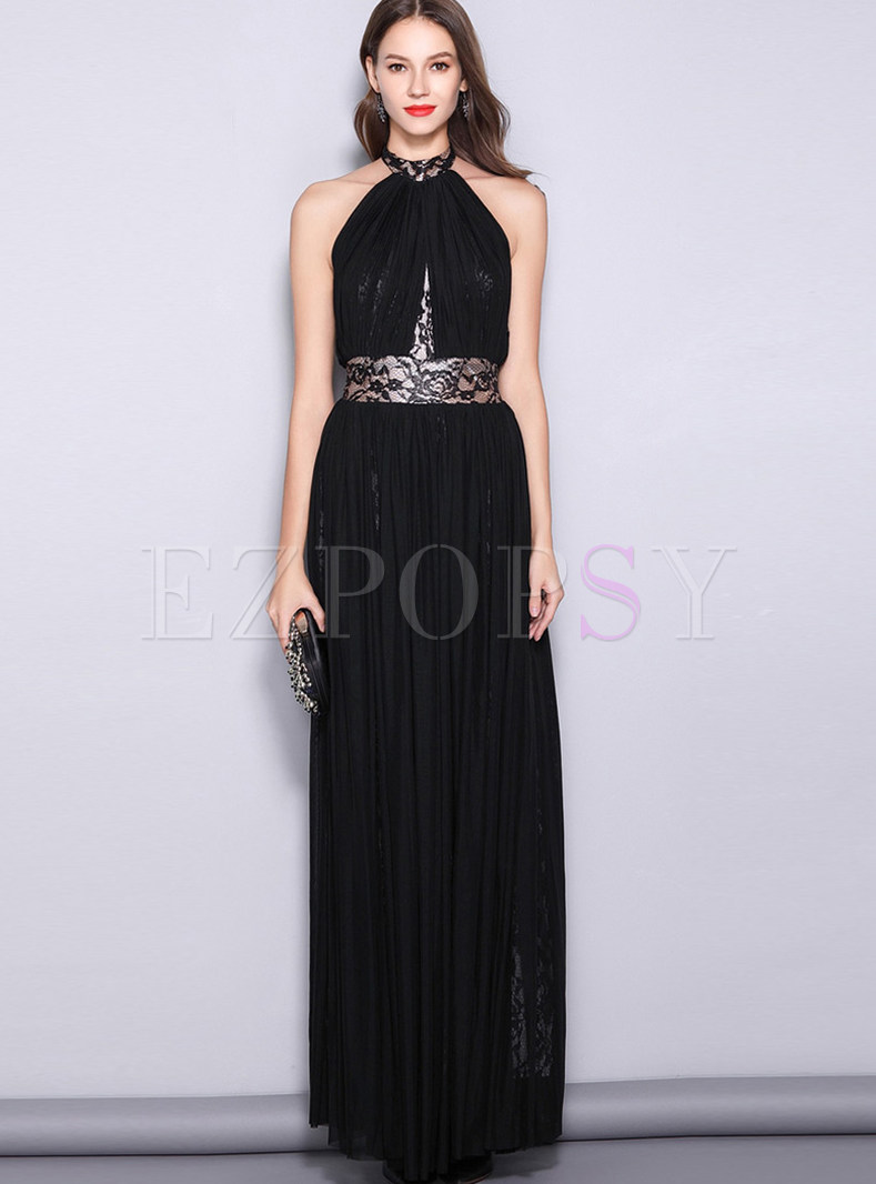 Sexy Hanging Neck Lace Backless Banquet Evening Dress