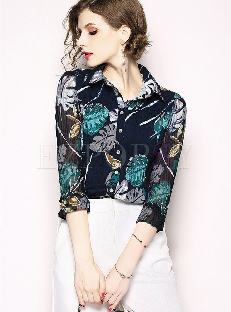 Fashion Turn-down Collar Print Retro Chiffon Blouse