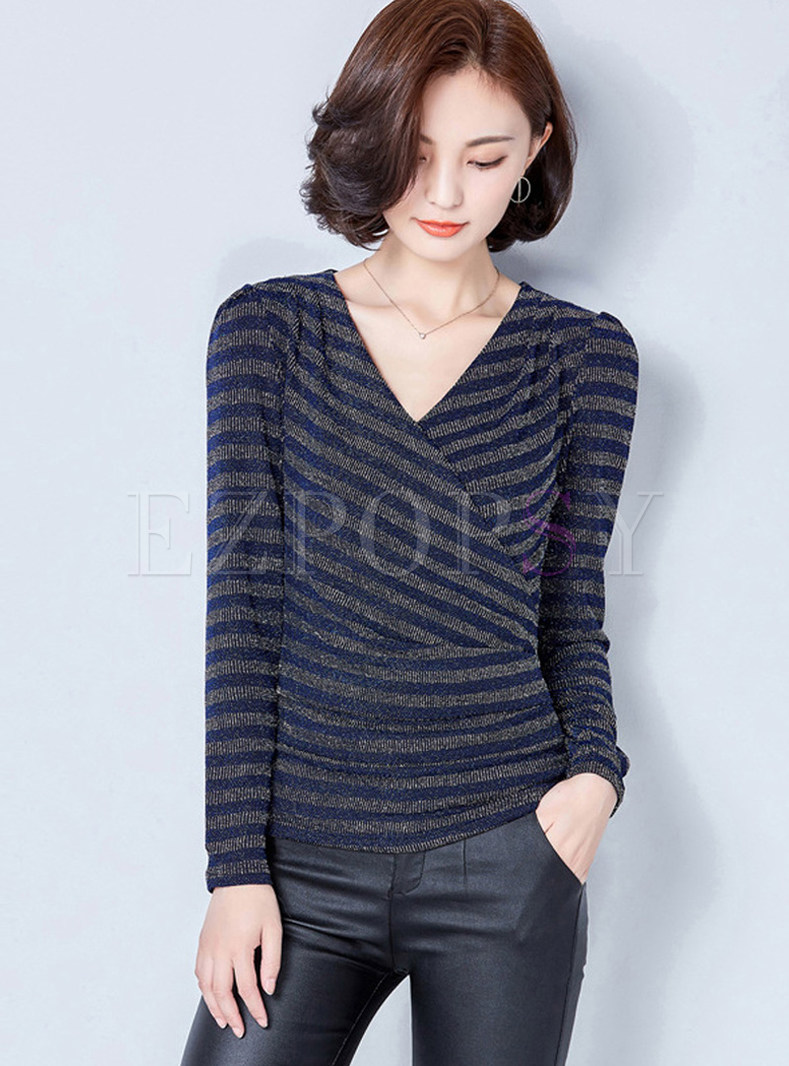 Casual Striated V-neck Long Sleeve Slim Sweater