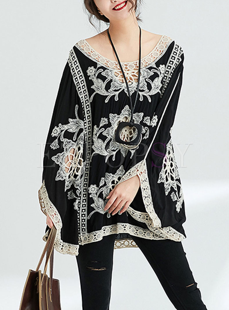 Ethnic Embroidered Hollow Out Bat Sleeve Loose Sweater