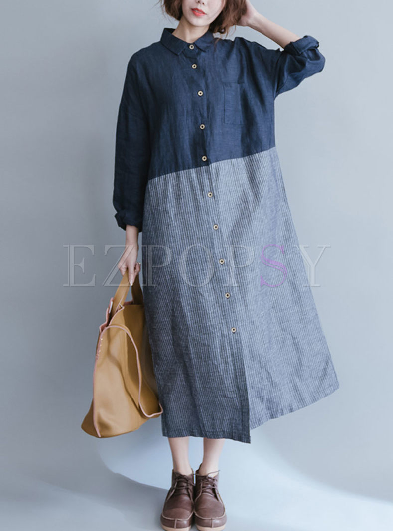 Loose Striped Splicing Single-breasted Lapel Dress