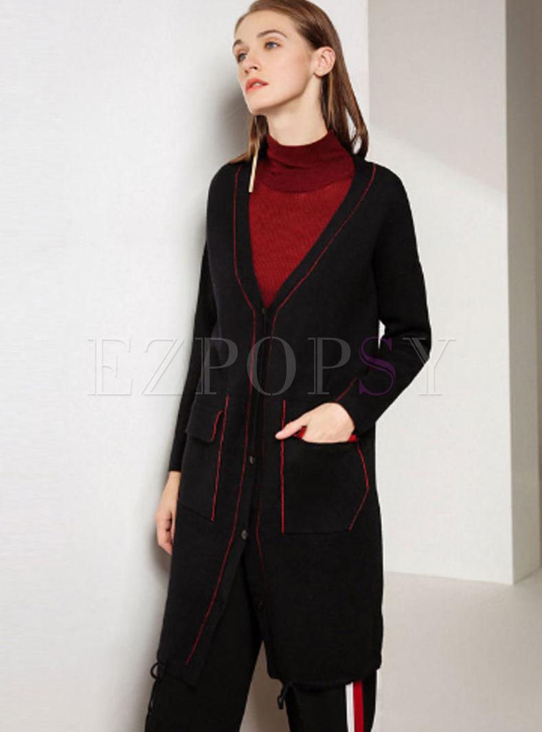 Loose Color-blocked V-neck Pocket Zip-up Knitted Coat