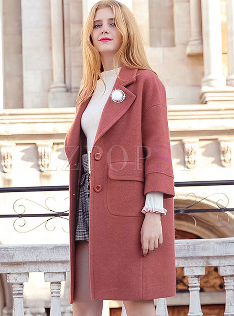 Turn Down Collar Straight Wool Blended Coat