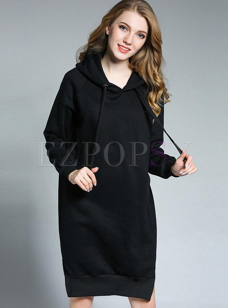 Fashion Hooded Thicken Plus Size Slit Dress