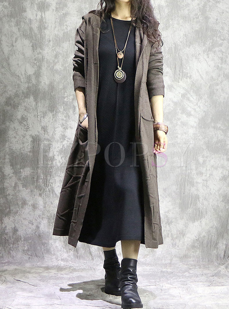 Brown Hooded Loose Slit Long Sweater Coat