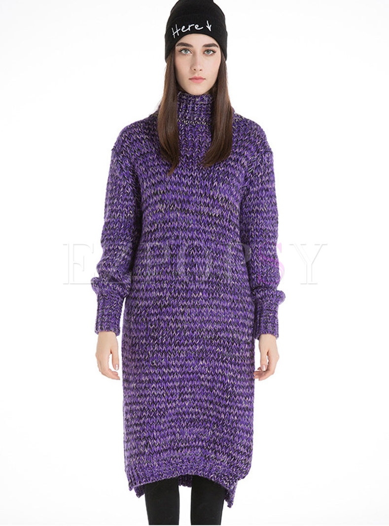 Casual Purple Multicolor High Neck Knitted Dress