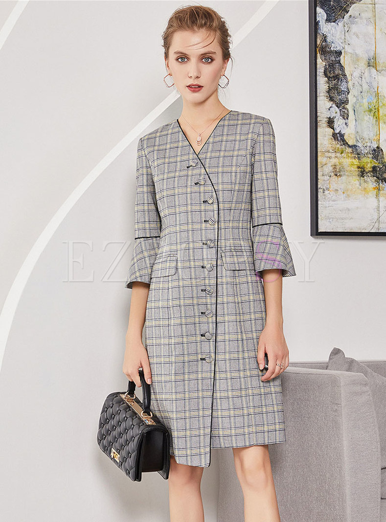 Chic Grid Flare Sleeve Single-breasted Asymmetric Shift Dress
